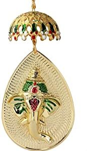 Roll over image to zoom in Two Sided Ganesha hanging Wall Decor Sculpture Indian Decor for Wall Decoration for Diwali/Ganesh Chaturthi/Wedding return gift/Car mirror hanging
