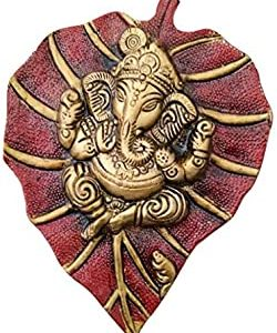 Charmy Crafts Metal Lord Ganesha On Leaf, Wall Hanging Article for Wall Decor, Room Decor, Best for Housewarming, Wedding Gifts