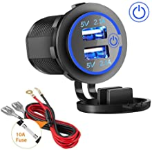 Dual USB Charger Socket, 2.1A & 2.1A Waterproof 12V/24V Dual USB Fast Charger Socket Power Outlet with Touch Switch for Car Marine, Boat, Motorcycle, Truck and More(4.2A-Blue)