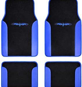 Fresh Carpet Floor Mats, Color Tribal Tattoo Design Vinyl Trim for Car Sedan Truck SUV, Front & Rear Set of 4 Universal Fit