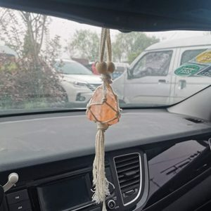 Handmade.Simple and natural. Natural materials, the shape of each product is unique. Can be hung on the rearview mirror of the car, add some color to your car space, bring a different feeling The rope can be wound a few more turns to achieve comfortable size requirements As a very good gift to your friends and family