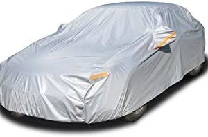 Kayme 6 Layers Car Cover Waterproof All Weather for Automobiles, Outdoor Full Cover Rain Sun UV Protection with Zipper Cotton, Universal Fit for Sedan