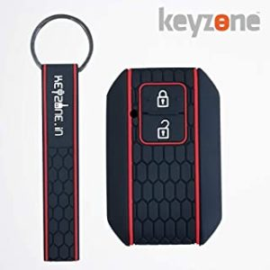 Roll over image to zoom in keyzone® Keycare® Silicone Key Cover for Suzuki Baleno 2019 2b Smart Key with Keyring (Black)